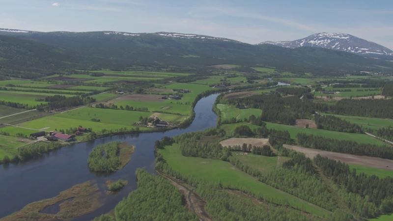 Elven Glomma, Tolga, Vingelen - Flying Over Norway