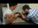 Extreme Arm Wrestling Bodybuilder vs me and friend, (HD)
