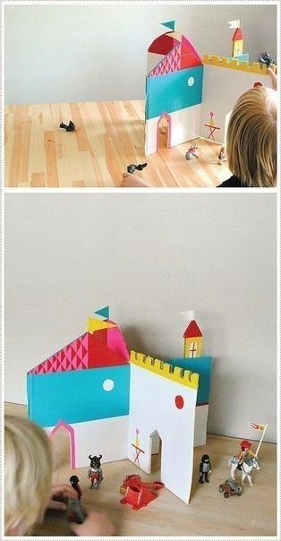 ЗАМОК ИЗ КАРТОНА Этот вариант замка очень простой. В него можно играть на полу, на столе, на улице. По его принципу можно сделать любое здание: хоть дворец, хоть магазин с отделами, хоть школу с