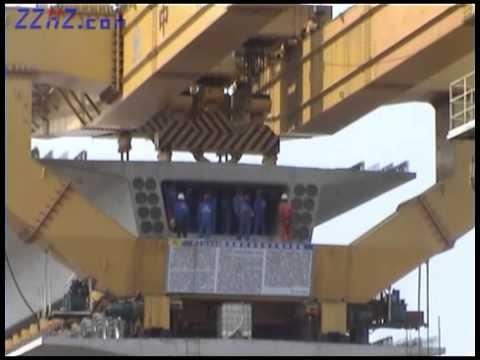 HZQ900T full span beam launcher for high speed railway bridge