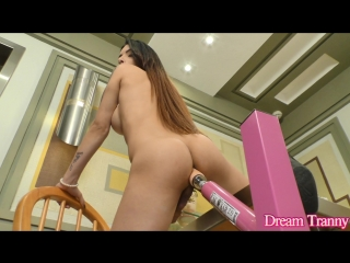 DreamTranny.com - Marcelle Herrera / Filling Her Hole (26 June 2018) [shemale solo dildo toys Fucking Machine, 1080p]