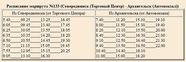 Расписание маршрута №133