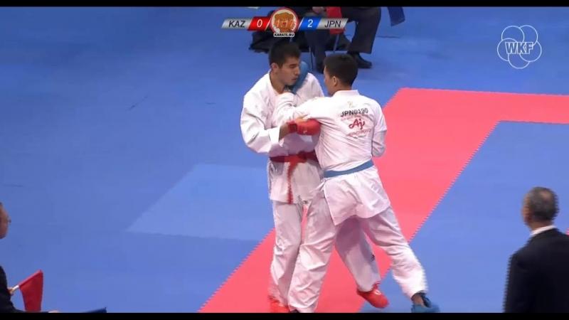 Мужское кумитэ до 84 кг. Финал German Open 2018 Данияр Юлдашев (Казахстан) - Рютаро Арага (Япония).