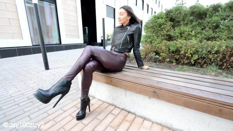 Burgundy leather leggings, shoes long legs boots