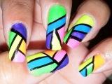 Bright Neon Nails Tutorial! Урок по созданию неоновых ногтей.