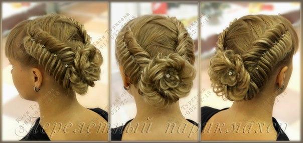Торжественные прически с косами на средние волосы
