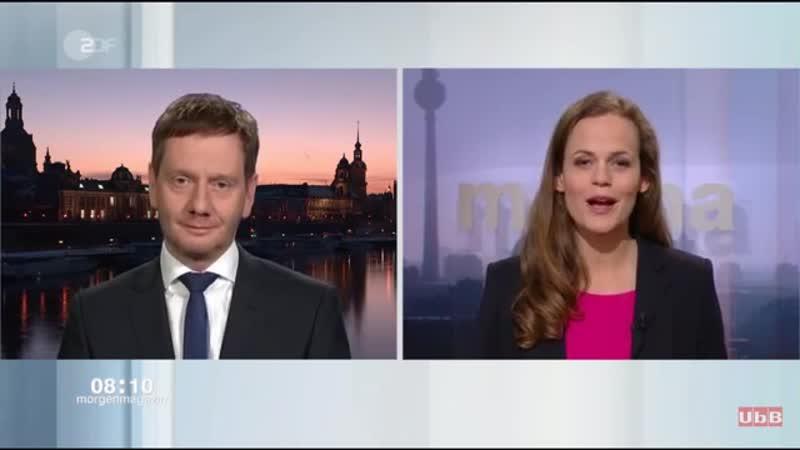 Moderatorin stellt Kretschmer -CDU-- -Können sie sich eine Koalition mit der AfD vorstellen-- 😉