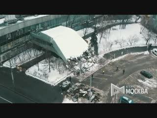 Вид с квадрокоптера на последствия обрушения навеса над входом здания Института «Гидропроект»
