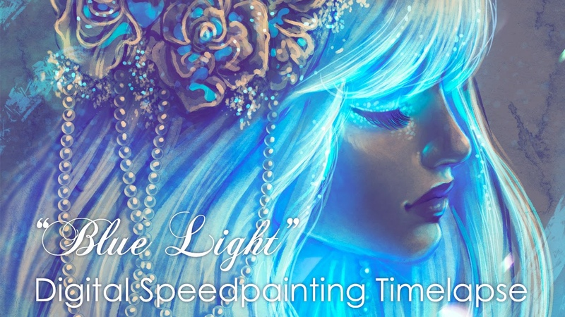 Digital Timelapse Speedpainting process With Adobe Photoshop. Blue Light by Bea González