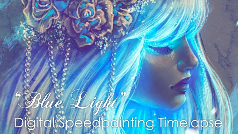 Digital Timelapse Speedpainting process With Adobe Photoshop. Blue Light by Bea González