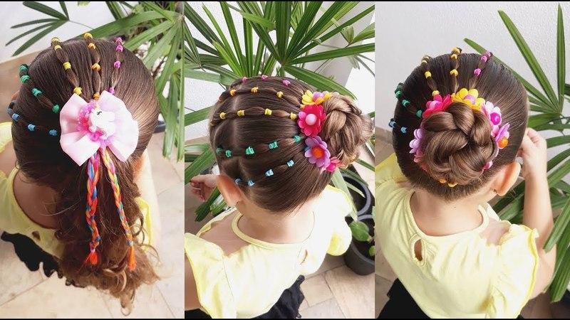 Penteado Infantil arco íris com ligas, amarração ou coque