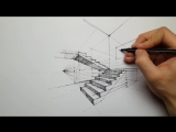 How to Draw Stairs in Two-Point Perspective _ Daily Architecture Sketches