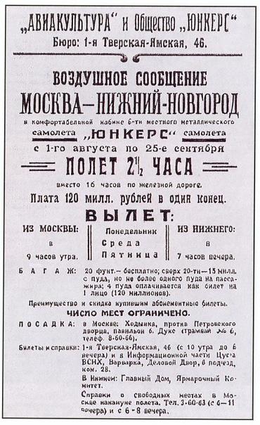 Москва  Нижний Новгород  первая в Советском Союзе регулярная воздушная линия открылась 15 июля 1923 года