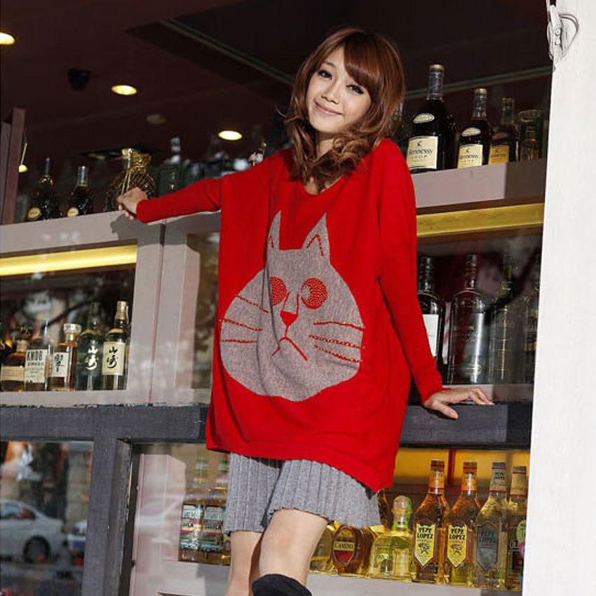 мода женская одежда плюс размер 2014 свитера верхняя одеёда женский свободные волос кролика batwing длинным- рукавом рубашки бисером