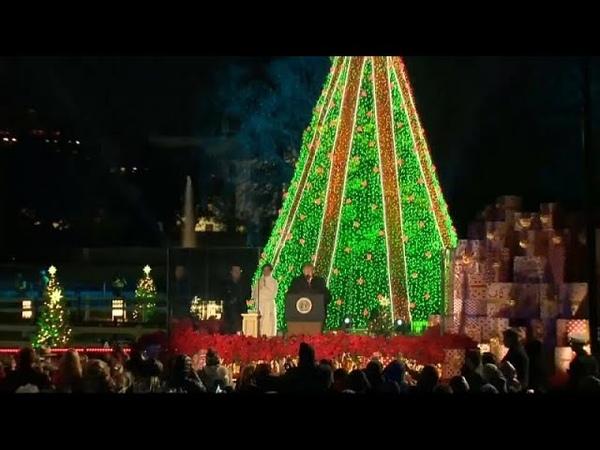 Возле Белого дома зажглась рождественская елка