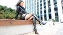 Black overknee boots mini skirt leather high heels long legs