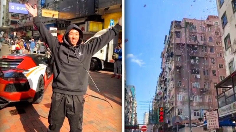 Man Causes Mad Dash by Throwing Money From Hong Kong Roof