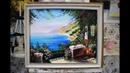 Картина маслом Морское побережье Греции. Мастер-класс рисуем море