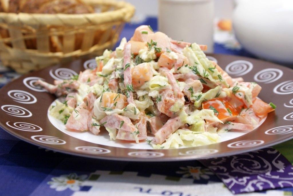 Рецепт салата колбасой пошаговое фото