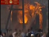Kosovo , Serbia, Europe: church set in flames by muslim Albanians 04