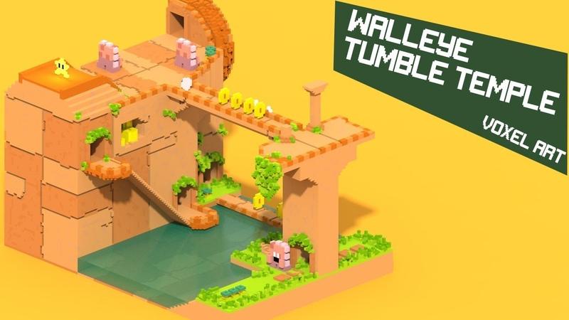 Walleye Tumble Temple Voxel Art