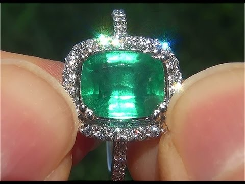 Certified Natural Colombian Emerald Diamond 14k White Gold Cocktail Estate Ring - C776