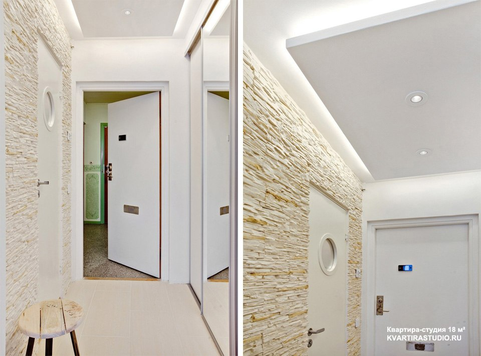 Декоративный камень в интерьере квартиры 18 м в Линчёпинге / Швеция - http://kvartirastudio.