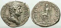 Древнеримские женщины-богини, монеты,Юстиция