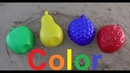 Colorful mud pies sand strawberry pear Apple learn colors in English for kids