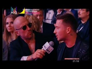 Премия Муз-ТВ 2018-06-08 Интервью Сергея Лазарева и Ани Лорак