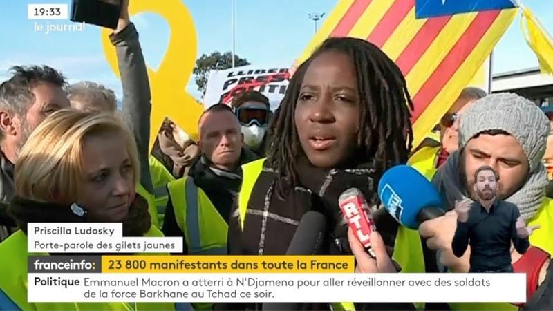 Gilets Jaunes Acte VI: interview de Priscillia Ludosky au Boulou à la frontière espagnole