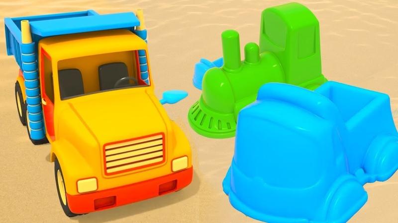 Çizgi film. Renkli kumdan şekiller. Küçük çocuklar için.