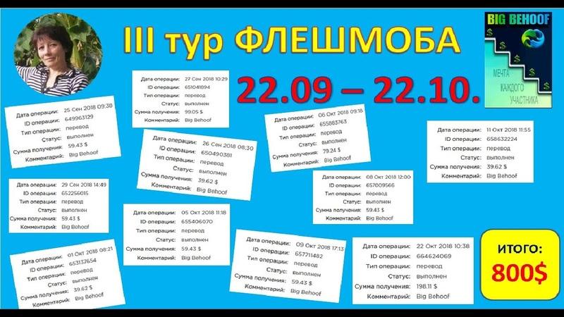 III тур ФЛЕШМОБА – ЗАКОЛЬЦОВКА BIGBEHOOF Доход 800$