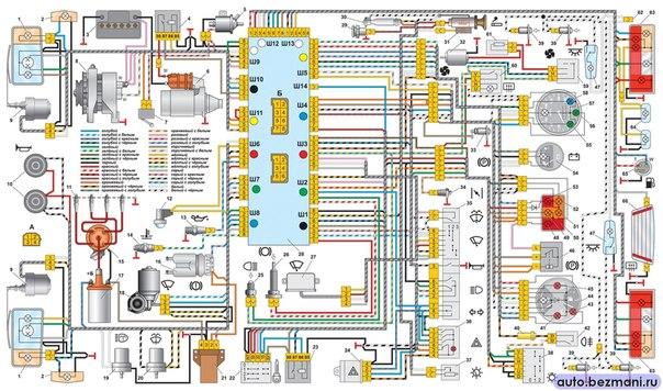 Схема проводки ваз 2105