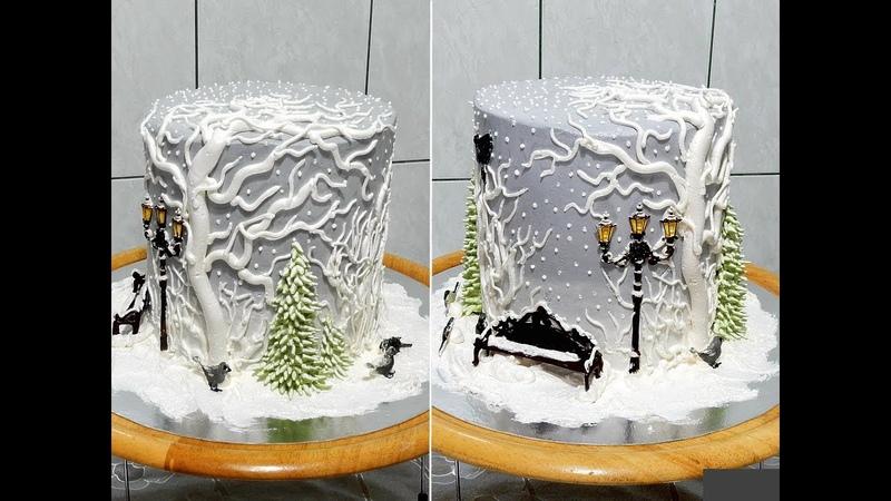 Торт ЗИМНИЙ НОВОГОДНИЙ от SWEET BEAUTY СЛАДКАЯ КРАСОТА WINTER CAKE DECORATION