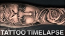 TATTOO TIME LAPSE LION ROSE GIRL PORTRAIT CHRISSY LEE