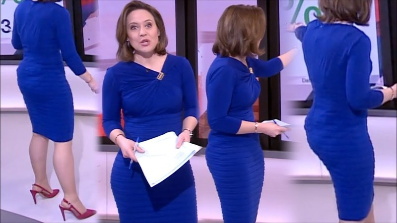 Sally Bundock | Very Tight Blue Dress Visible Panty Lines