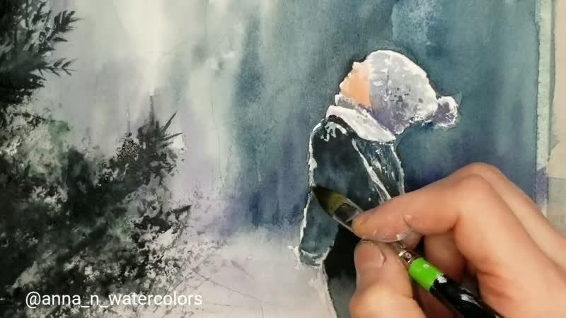 Winter Scenery Little Boy