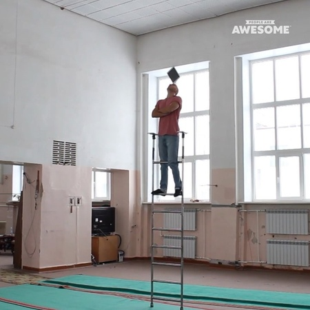 """People Are Awesome on Instagram """"Dmitry Bondarev with ridiculous balance! ⠀ ladder balance circus acrobatics"""""""