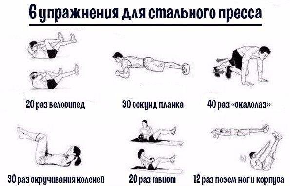 6 упражнений для стального красивого накачанного пресса