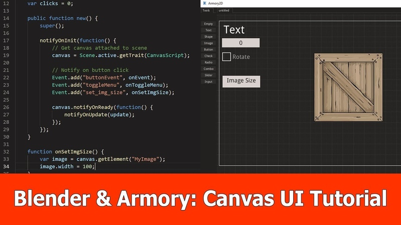 Armory 3D Blender : Canvas UI Tutorial