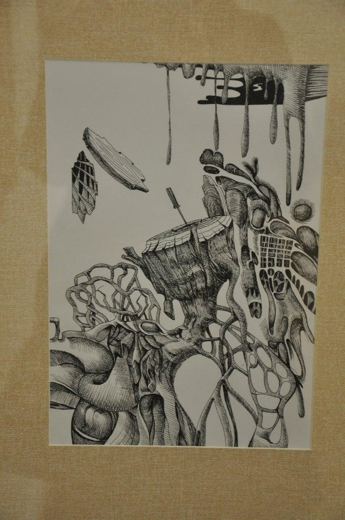 Союз художников Кыргызской Республики  Толгобек Койчуманов (р. 1985)  Отвёртка. 2012  Бумага, тушь