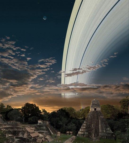 Так выглядело бы небо, будь у Земли кольца как у Сатурна.
