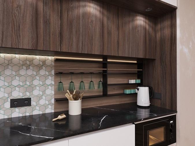 Яркий акцент в кухне — гостиной