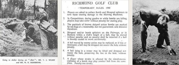 Многие британские гольф-клубы во время Второй мировой войны не закрывались и на них можно было играть в гольф