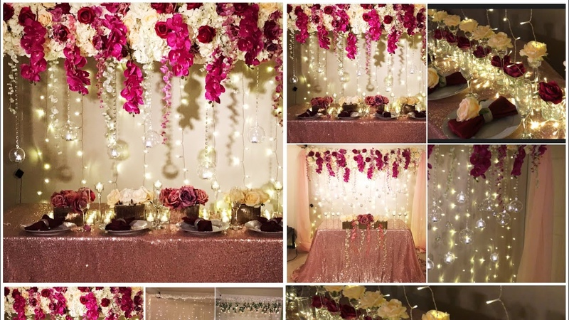 DIY- long table and backdrop decor DIY - wedding decor DIY- flower panel decoration