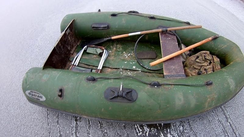 Первая подлёдная рыбалка, переход на лёд с помощю лодок
