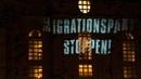 Projektion an die Dresdner Frauenkirche: MIGRATIONSPAKT STOPPPEN!