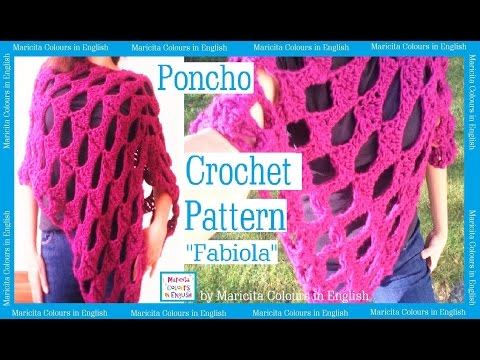 Poncho Crochet Cape Fabiola by Maricita Colours in English Pattern free