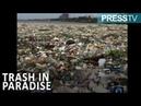 Тонны пластика и мусора, плавающего в Карибском море у побережья Санто-Доминго в Доминиканской Республике